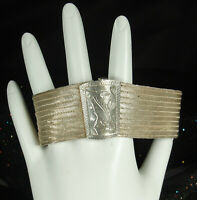 "1920s ART DECO 900 SILVER MESH Bracelet Handmade FLEXIBLE Etched Buckle 7-5/8"""