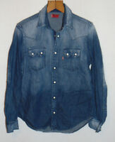 LEVI'S Levi Strauss Red Tab Jean Denim Shirt Blue Faded Popper Button Size Small