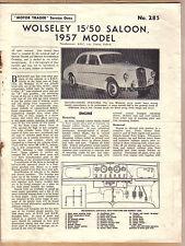 Wolseley 15/50 Saloon 1957 Model Motor Trader Service Data No. 285 1957