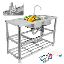 2 Bowls Stainless Steel Commercial Sink Double Bowl Kitchen Catering Prep Table