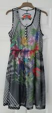 Desigual Black Lined Mess Floral Dress Size XL 44 UK 12 14 Short Sleeve Boho