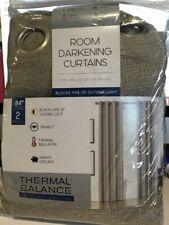 "2-Thermal balance Room Darkening Curtain Panel 52""x84"" W/Grommets Linen"