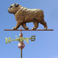 English Bulldog Hand Carved Hand Painted Basswood Dog Weathervane Brindle