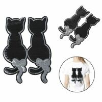 Noir Chat Modèle Paillette Patches Réversible vêtements Sac Badge DIY Couture
