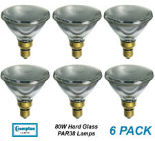 6 x 80W PAR38 Reflector Floodlight Light Globes Bulbs Lamps ES Hard Glass CLEAR