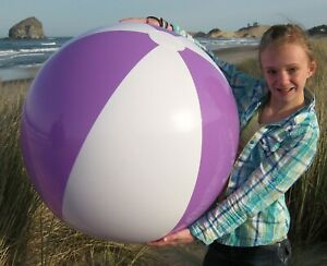 """36"""" PURPLE & WHITE Inflatable Beach Ball, Glossy Vinyl, POOL PARTY Decoration"""