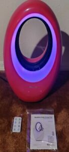 LivePure Bladeless Auto-Duster 22 in. Oscillating Pedestal Fan with Control RED!