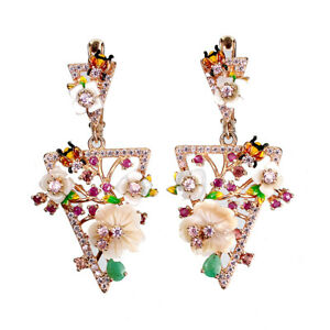 Unheated Pear Emerald Ruby Mop Cz 925 Sterling Silver Flower Earrings