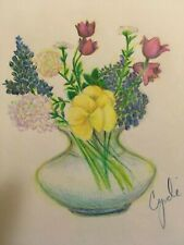 colored pencil drawing mixed  flowers