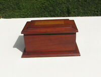 Vintage Small Mahogany Wooden Table Top Box with Oak Insert