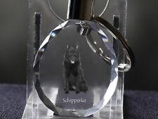 Schipperke, Dog Crystal Round Keyring, High Quality, Crystal Animals Ca