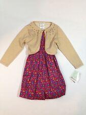 Girl's Ralph Lauren Floral Holiday Church Dress & Gold Sparkly Cardigan Sz-5 NWT