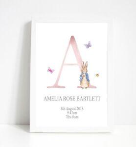 Personalised Peter Rabbit Nursey Print, childs room decor,wall print,Birth print