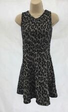 NEW Debenhams Bluezoo Textured Animal Print Black Grey Skater Dress Age 7-8 DE26