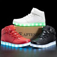 APTESOL Kids Youth LED Light Up Sneakers Boys Girls, Black-01,  Size Toddler 8.0