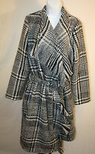 Luii Womens Ladies Black White Blanket Trench Winter Coat Size XL New