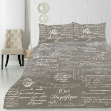 Script Quilt Doona Duvet Cover Set Luxury Bedding French France Writing Vintage Queen