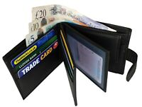 Designer Mens Leather Wallet Coin Pouch & 9 Cards Spaces Black New Roamlite RL46