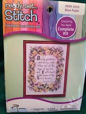 "Ready, Set, Stitch - Counted Cross Stitch Kit ""Rose Psalm #999-1010"" New Sealed"