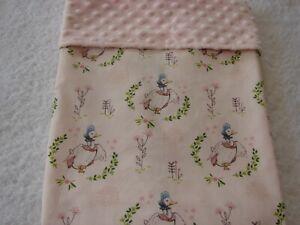 Jemima Cotton Front Pink Minky Reversible Bassinet/Crib Blanket Handmade