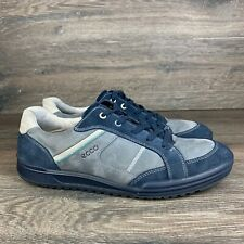 ECCO Mens Size 45 Blue Gray Suede Shoes Sneaker Retro Casual Lace Up