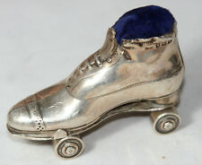 HallMarked ANTIQUE c1908 ~~Victorian Silver ROLLER SKATE  Pin Cushion ~~RaRe