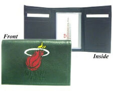 Miami Heat Leather Tri-Fold Wallet [NEW] Black Trifold Billfold NBA CDG
