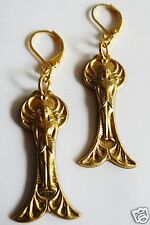 EGYPTIAN STYLE GODDESS RAW BRASS DETAILED HANDMADE EARRINGS FOR PIERCED EARS
