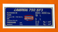 LAVERDA 750 SF3 CAPACITIES/TYRE PRESSURE DECAL-METZELER FOR WBIR 9647