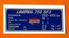 LAVERDA 750 SF3 CAPACITIES/TYRE PRESSURE DECAL-METZELER