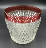 Vintage Indiana Glass Diamond Point Ruby Red Ice Bucket Cranberry Holiday Drinks