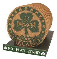Cork Placemat  with Ireland Shamrock Green logo Round Favorite Irish Gift