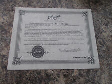 D'AQUISTO CERTIFICATE OF AUTHENTICITY for DQ-NYE ALB - 2006 JAPAN VERSION