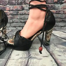 NA NA Women's Black Leather Strappy Heels - Fabric Accent - Size 8