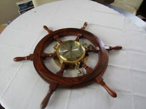 "VINTAGE 27"" SHIPS WOODEN WHEEL WITH HEAVY BRASS PORTHOLE CLOCK-UNUSED EXC!!"