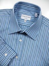 ALFRED DUNHILL LONDON MENS 15.5 MEDIUM 36 DRESS SHIRT BLUE STRIPE MADE IN ITALY