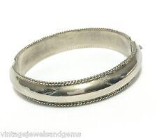 ART DECO .925 STERLING SILVER Vtg Hinged Clamper Cuff Bangle Statement Bracelet