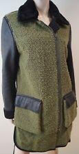 3.1 PHILLIP LIM Khaki Green Detachable Fur Collar & Leather Sleeve Jacket Coat S