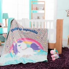 BEST SELLER UNICORN BABY GIRLS NURSERY BLANKET WITH SHERPA VERY SOFTY AND WARM