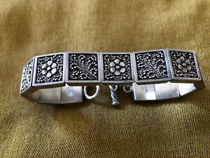 Lois Hill beaded filigree bracelet heavy sterling silver  81.68g. -8 Inches Long