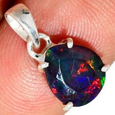 Faceted Genuine & Rare Chalama Black Opal 925 Silver Pendant Jewelry AP191325