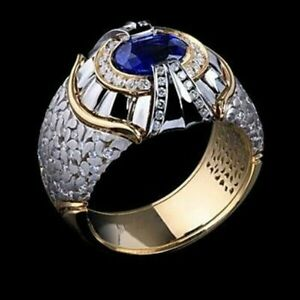 Gorgeous Two Tone 18K Gold Party Rings Men Punk Jewelry Blue Sapphire Size 11