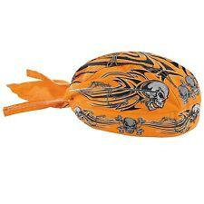 Zan Flydanna Orange Tribal Skull Bandanna Harley Davidson Skullcap
