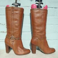River Island Leather Boots Size UK 6 Eur 39 Womens Sexy Pull on RIR Brown Boots