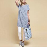 Barbour Undertow Basketweave Knitted Dress Blue/White UK10 Fray Hem Shift