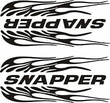 "2- Snapper Flaming Black Decals 3 1/2""X 9"" 1 L Side & 1 R Side Each"