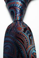 New Classic Paisley Blue Orange JACQUARD WOVEN 100% Silk Men's Tie Necktie