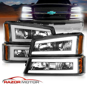 FOR 2003-2006 CHEVY SILVERADO REPLACEMENT BLACK HEADLIGHT LAMP BLUE DRL LED KIT
