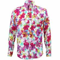 Mens Loud Shirt Retro Psychedelic Funky Party TAILORED FIT Floral Purple