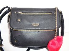 Authentic GUESS ROSALEE Logo CHARM Chain Black Crossbody Shoulder Handbag. NWT